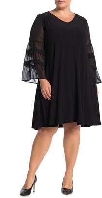 Nina Leonard Chiffon Sleeve Jewel Neck Dress (Plus Size)