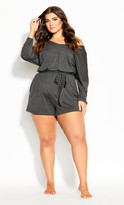 City Chic Ruby Raglan Sleeve Romper - grey