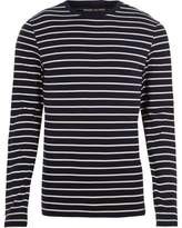 River Island Mens Navy stripe muscle fit long sleeve T-shirt