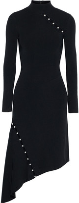 Alice + Olivia Kam Asymmetric Cutout Embellished Stretch-knit Dress