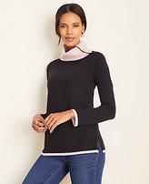 Ann Taylor Button Collar Tunic Sweater