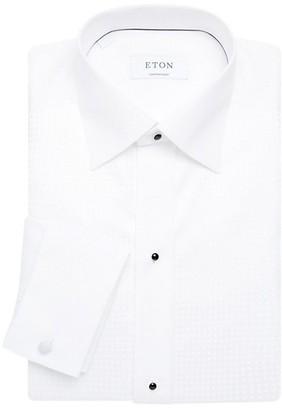Eton Contemporary-Fit White Tonal Squares Bib-Front Dress Shirt