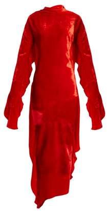 Paula Knorr - Relief Waterfall-ruffled Silk-blend Velvet Dress - Womens - Red