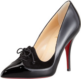 Christian Louboutin Queue de Pie Patent-Suede Red Sole Pump, Black