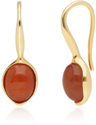 Irregular Red Jade Hook Earrings In Yellow Gold Plated Silver