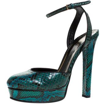 Gucci Green Python Huston Ankle Strap Platform Sandals Size 38.5