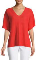 Eileen Fisher Short-Sleeve V-Neck Organic Linen Top
