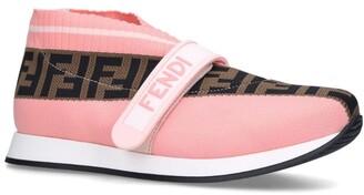 Fendi Kids Ff Love Woven Slip-On Sneakers
