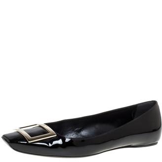 Roger Vivier Black Patent Leather Belle Ballet Flats Size 39.5