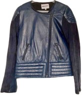 American Retro Blue Leather Jacket for Women
