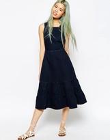 Asos Denim Carmen Midi Dress with Tiered Hem in Dark Blue