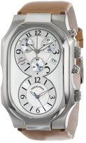 Philip Stein Teslar Men's 3-CRSIL-CIC Signature Silver Dial Chronograph Camel Italian Calf Strap Watch