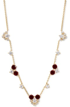 """Eliot Danori 18K Gold-Plated Cubic Zirconia Cluster Statement Necklace, 15"""" + 3"""" extender, Created for Macy's"""