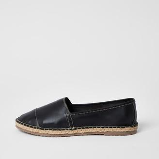 Ravel River Island Womens Black leather espadrille sandals