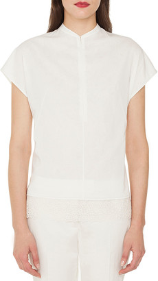 Akris Cap-Sleeve Zip-Front Cotton Voile Blouse w/ Back Pleat