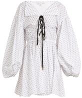 Caroline Constas Olympia lace-up flocked cotton dress