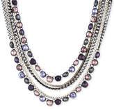 DKNY Tri-Tone & Black Rubber Multi-Stone Multi-Layer Necklace, Created for Macy's