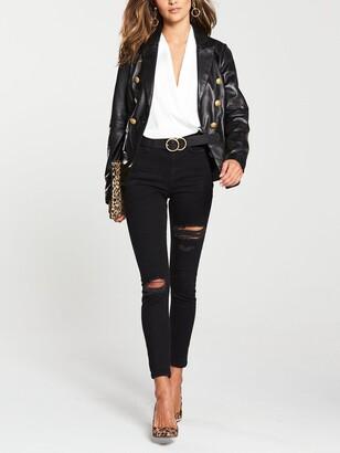Very Gold Button Detail Leather Blazer - Black