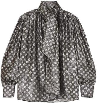 Dodo Bar Or Kelly Tie-neck Metallic Silk-blend Jacquard Blouse