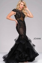 Jovani Cap Sleeve Tiered Mermaid Dress 26947