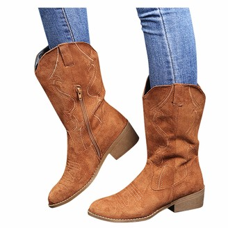 Overdose Women's Clothing Women's Winter Mid Calf Boots Ladies Leather Ankle Riding Boots Knee Short Boots Western Boots Handmade Embroidered Round Toe Shoes Brown