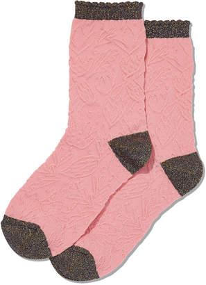 Hot Sox Women's Floral-Textured Crew Socks