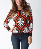 Yuka Paris Brown & Orange Brocade Sweater