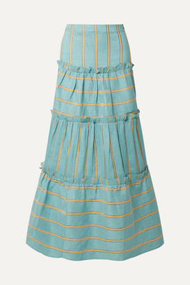 Paper London Coquillage Tiered Striped Linen-blend Maxi Skirt - Turquoise