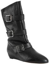 Cale Short Flat Buckle Boot in Black Vachetta