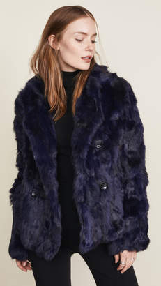 Adrienne Landau Textured Rabbit Pea Coat
