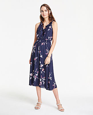 Ann Taylor Petite Floral Halter Ruffle Flare Dress