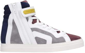Pierre Hardy Sneakers In Grey Suede And Leather