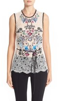 Yigal Azrouel Women's Floral Embroidered Lace Top