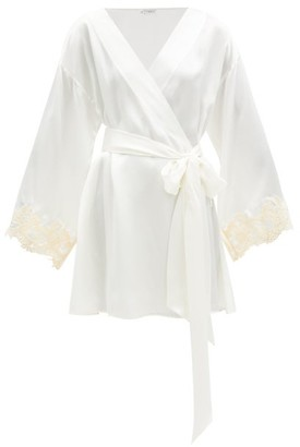 La Perla Maison Embroidered Silk-satin Robe - Ivory