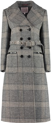 ALEXACHUNG Checked Double-breast Coat