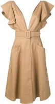 Oscar de la Renta Ruffled Sleeve Midi Dress