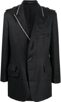 Yohji Yamamoto Contrast Piping Single-Breasted Blazer