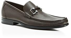 Salvatore Ferragamo Men's Grandioso Calfskin Leather Loafers with Double Gancini Bit - Wide