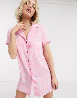 Noisy May oversized mini shirt dress in pink tie dye
