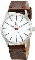 Joshua & Sons Men's JS86SSBR Silver Quartz Watch With White Dial and Brown Leather Strap
