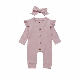 Verve Jelly Newborn Baby Girls 2Pcs Leopard Romper Ruffle Long Sleeve Snap One Piece Footless Romper Jumpsuit Bow Headband