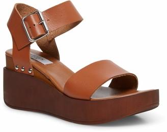 Steve Madden Women's Torie Cognac Leather Sandal 7 US