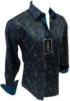 Men's Calvetti Paisley Woven Long Sleeve Button Down Dress Shirt 307 (2XL)