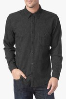 7 For All Mankind Long Sleeve Striped Flannel Shirt In Black And White