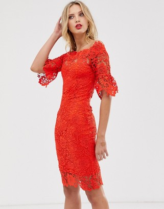 Paper Dolls off shoulder crochet dress with frill sleeve-Red