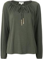 MICHAEL Michael Kors drawstring neck long-sleeved top - women - Polyester/Spandex/Elastane - L