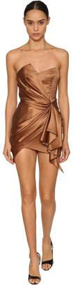Alexandre Vauthier Off Shoulder Draped Stretch Satin Dress