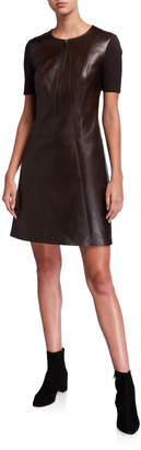 Elie Tahari Buffy Zip-Front Short-Sleeve Leather & Ponte Dress