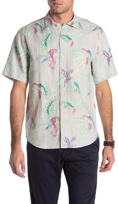 Tommy Bahama March of the Parrots Print Linen Hawaiian Shirt