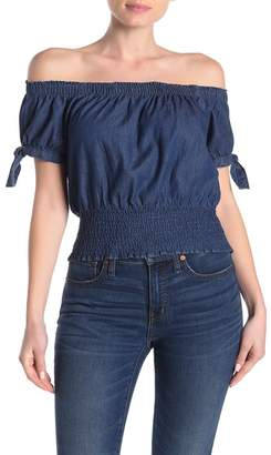Planet Gold Off-the-Shoulder Chambray Smocked Crop Top